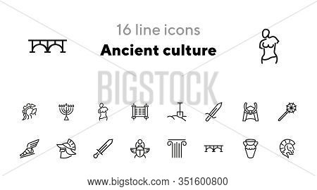 Ancient Culture Line Icon Set. Sword, Spade, Armor. History Concept. Can Be Used For Topics Like War