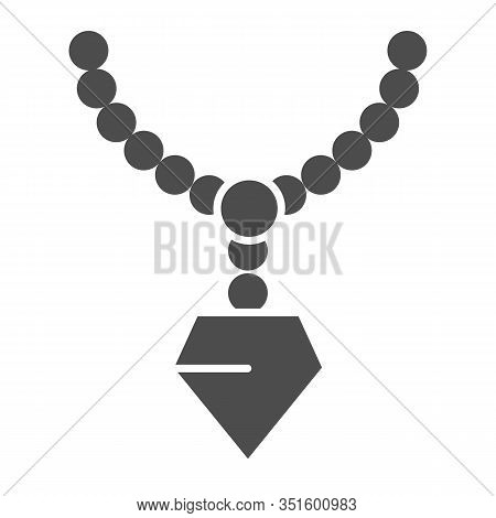 Pendant With Gemstone Solid Icon. Chain With Pendant Vector Illustration Isolated On White. Jeweller