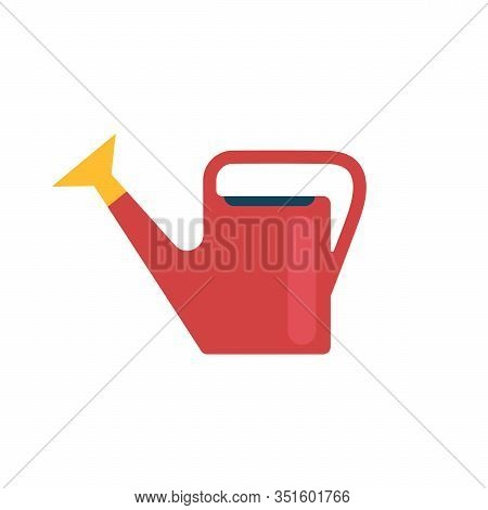 Plastic Red Watering Can.gardening Tools, Inventory.to Water The Plants And Flowers.growth, Roots, S