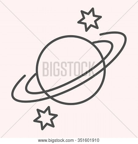 Saturn Thin Line Icon. Planet With Rings And Stars Around. Astronomy Vector Design Concept, Outline