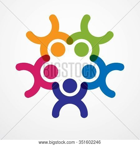 Teamwork Businessman Unity And Cooperation Concept Created With Simple Geometric Elements As A Peopl