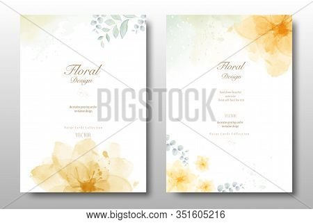 Watercolor Hand Painted Invitation Template Card. Beautiful Foliage Background Use For Wedding, Invi