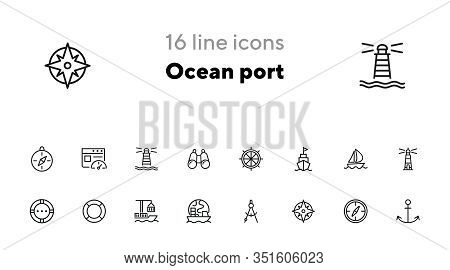 Ocean Port Line Icon Set. Boat, Ship, Lighthouse, Compass. Marine Concept. Can Be Used For Topics Li