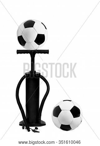 Pump And Football Balls Isolated On White Background