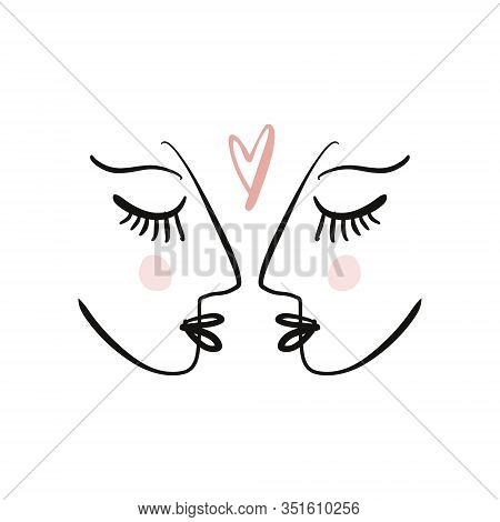 Love Valentines Day Concept. Modern Abstract Line Faces Portrait, Linear Brush Art. Lineart Quote Le