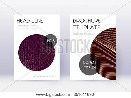 Trendy Cover Design Template Set. Gold Abstract Lines On Maroon Background. Flawless Cover Design. P