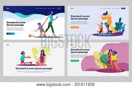Little Kids With Mother Set. Woman Walking Outside With Son, Reading With Daughter. Flat Vector Illu