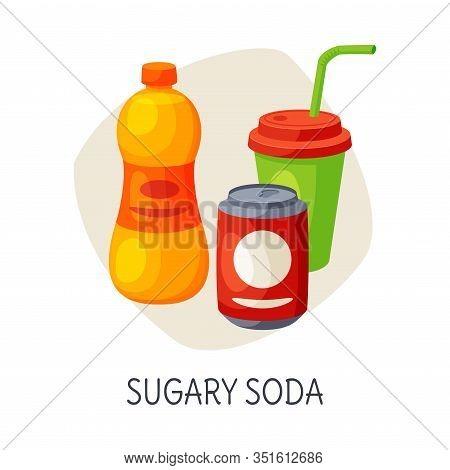 Unhealthy Food For Brain, Sugary Soda Drinks Vector Illustration