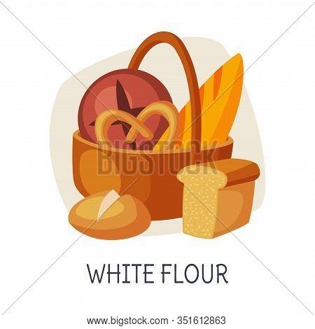 Unhealthy Food For Brain, White Flour, Refined Flour Bakery Vector Illustration