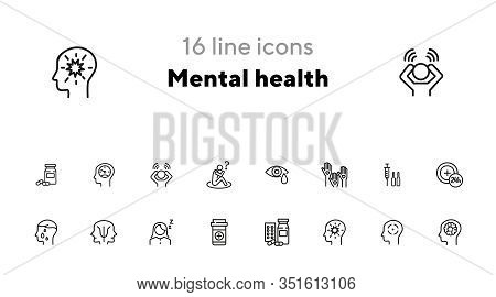 Mental Health Icon Set. Psychology Concept. Vector Illustration Can Be Used For Topics Like Apotheca