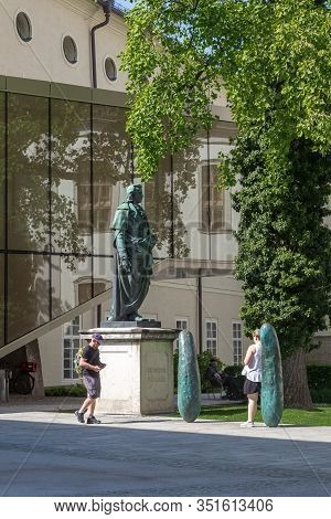 Salzburg, Austria - May 17, 2019: This Is A Monument To Friedrich Schiller In Front Of The Universit