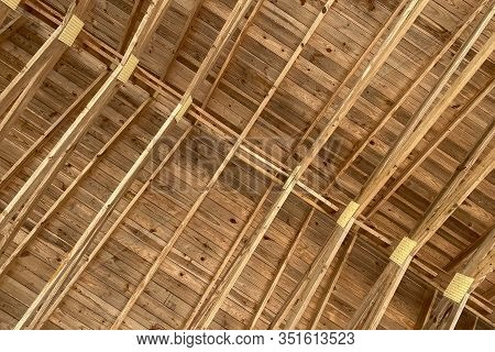 Barn Roof Rafters At A Horizontal View Diagonal