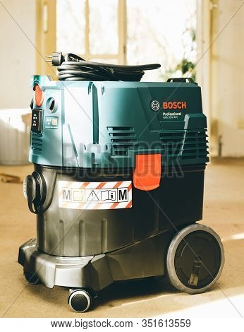 Strasbourg, France - Feb 9, 2020: Front View Of Bosch Professional Gas 35 M Class Afc With Automatic