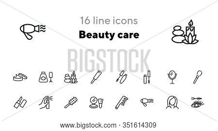 Beauty Care Line Icon Set. Mascara, Brush, Lipstick. Beauty Concept. Can Be Used For Topics Like Bea