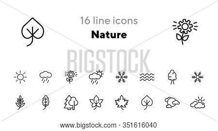 Nature Icons. Set Of Line Icons On White Background. Wood, Snowflake, Overcast. Fall Concept. Vector
