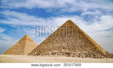 The Great Pyramids In Giza Valley And Sphinx, Cairo, Egypt