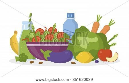 Alkaline Diet Concept. Alkaline Food On The Table. Flat Design. Vector Illustration