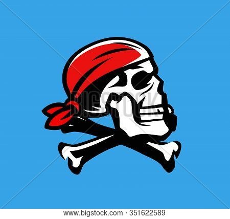 Skull And Crossbones Vector. Jolly Roger, Pirate Symbol Or Mascot