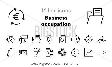 Business Occupation Icons. Professional Knowledge, Percentage Diagram, Pie Chart. Business Concept.