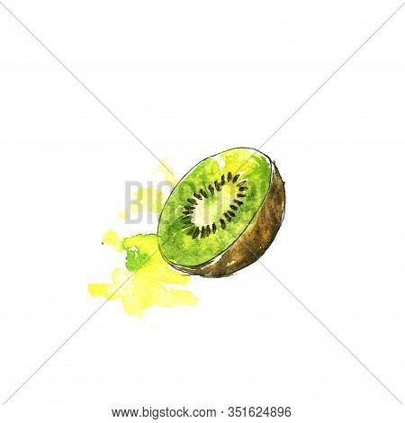 Watercolor Drawing Kiwifruit With Paint Splashes, Hand Drawn Illustration