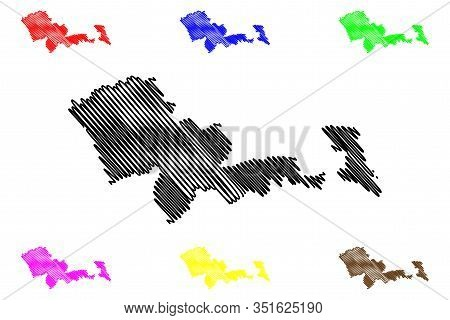 Mafeteng District (districts Of Lesotho, Kingdom Of Lesotho) Map Vector Illustration, Scribble Sketc