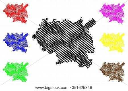 Maseru District (districts Of Lesotho, Kingdom Of Lesotho) Map Vector Illustration, Scribble Sketch