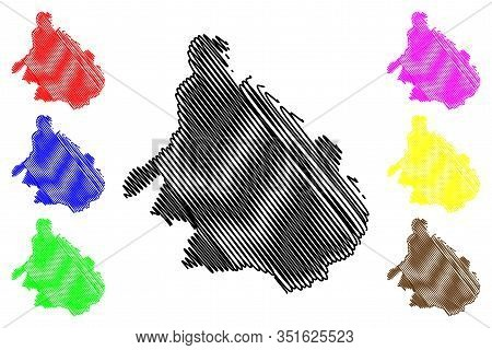 Mokhotlong District (districts Of Lesotho, Kingdom Of Lesotho) Map Vector Illustration, Scribble Ske