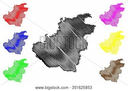 Quthing District (districts Of Lesotho, Kingdom Of Lesotho) Map Vector Illustration, Scribble Sketch