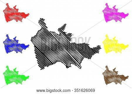 Thaba-tseka District (districts Of Lesotho, Kingdom Of Lesotho) Map Vector Illustration, Scribble Sk