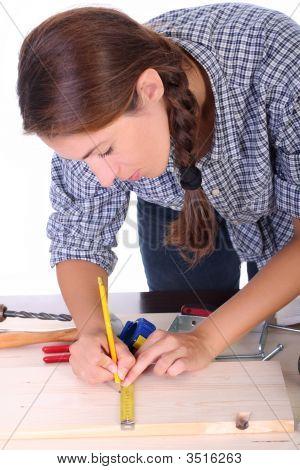 Woman Carpenter At Work