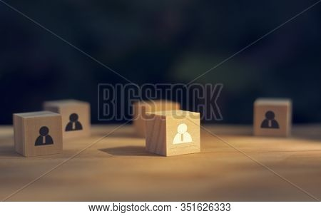 Wooden Cube Blocks With People Icon. Business Leadership Concept, Select Team Leader, Staff, Buildin