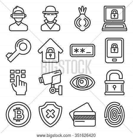 Dark Deep Internet And Security Icons Set. Line Style Vector