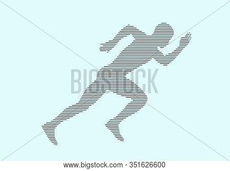 Start Running Athlete Runner Sprinter Silhouette In Black Lines On Blue Background