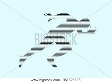 Starting Athlete Runner Run Sprint Silhouette In Black Lines On Blue Background