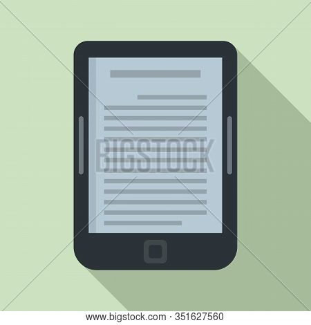 Ebook Reader Icon. Flat Illustration Of Ebook Reader Vector Icon For Web Design