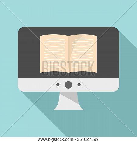 Computer Ebook Icon. Flat Illustration Of Computer Ebook Vector Icon For Web Design
