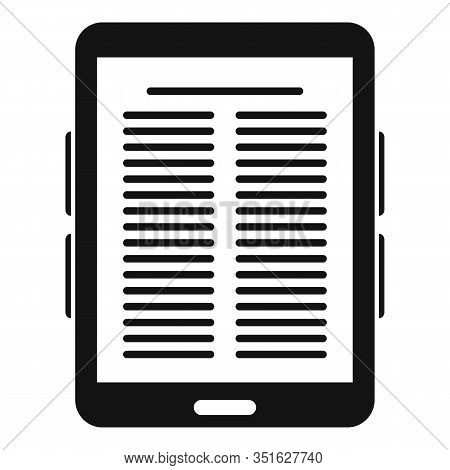 Paper Ebook Icon. Simple Illustration Of Paper Ebook Vector Icon For Web Design Isolated On White Ba