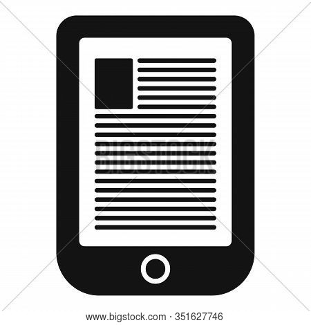 Digital Ebook Icon. Simple Illustration Of Digital Ebook Vector Icon For Web Design Isolated On Whit