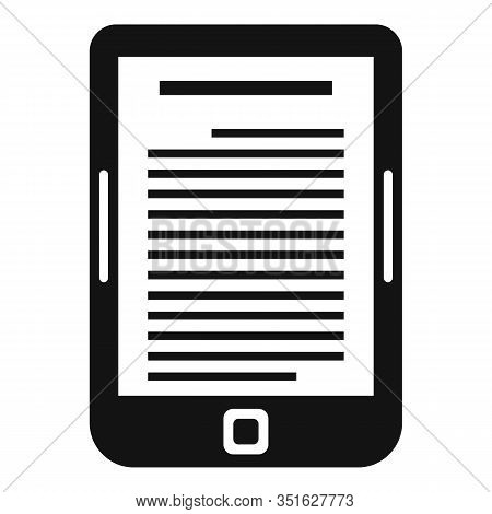 Ebook Reader Icon. Simple Illustration Of Ebook Reader Vector Icon For Web Design Isolated On White