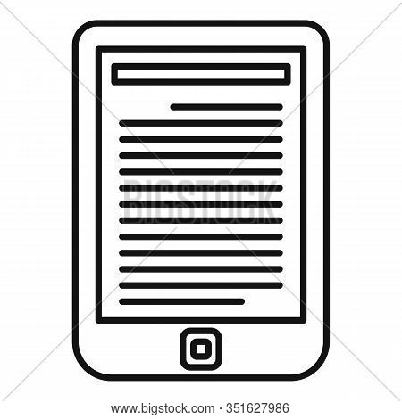 Ebook Reader Icon. Outline Ebook Reader Vector Icon For Web Design Isolated On White Background