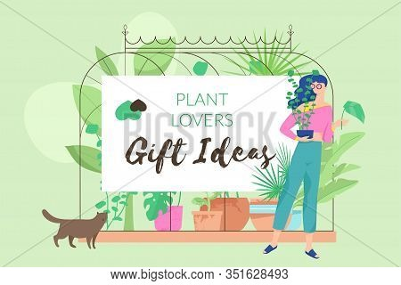 Plant Lover Poster Horizontal With Woman Character And Words Plant Lovers Gift Ideas. Modern Faceles
