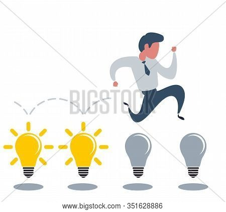 Brainstorming Businessman Turning Lights On. Stock Flat Vector Illustration.