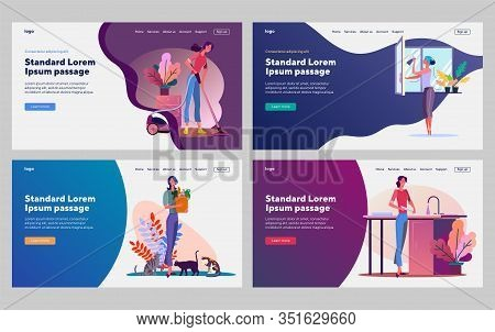 Cleaning And Housework Set. Woman Vacuuming, Washing Window, Dish, Pet. Flat Vector Illustrations. H