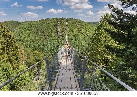 Geierlay Suspension Bridge Crossing Over The Valley Near Morsdorf, Germany