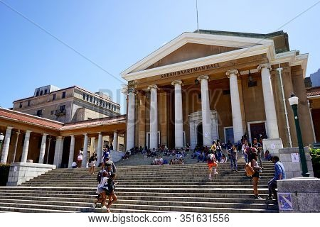 Cape Town, South Africa - 19 February 2020 : Students Sit On The Iconic Steps Of University Of Cape
