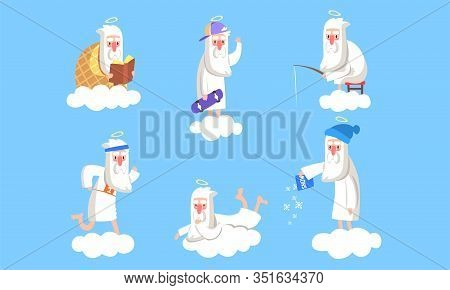 Elderly Male Angel Character In Different Situations Collection, Activity Of Holy Old Man On Heaven