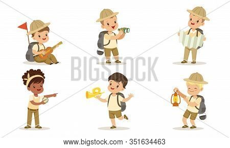 Collection Of Kids Scouts Camping, Cute Boys And Girls In Uniform With Hiking Equipment Vector Illus