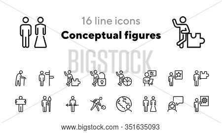 Conceptual Figures Line Icon Set. Different Action, Old Man, Artist, Groom And Bride. People Concept