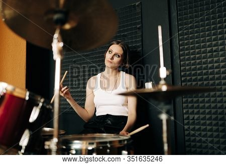 young musician  in recording studio, selective focus