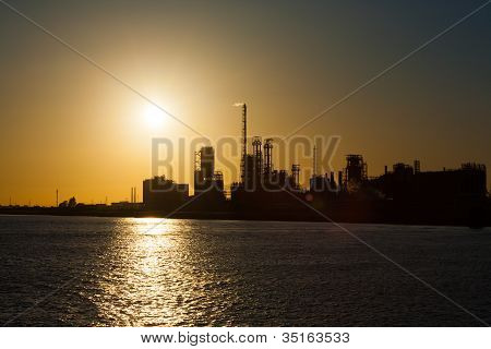 Petrochemical Refinery Climate Change Sunset H